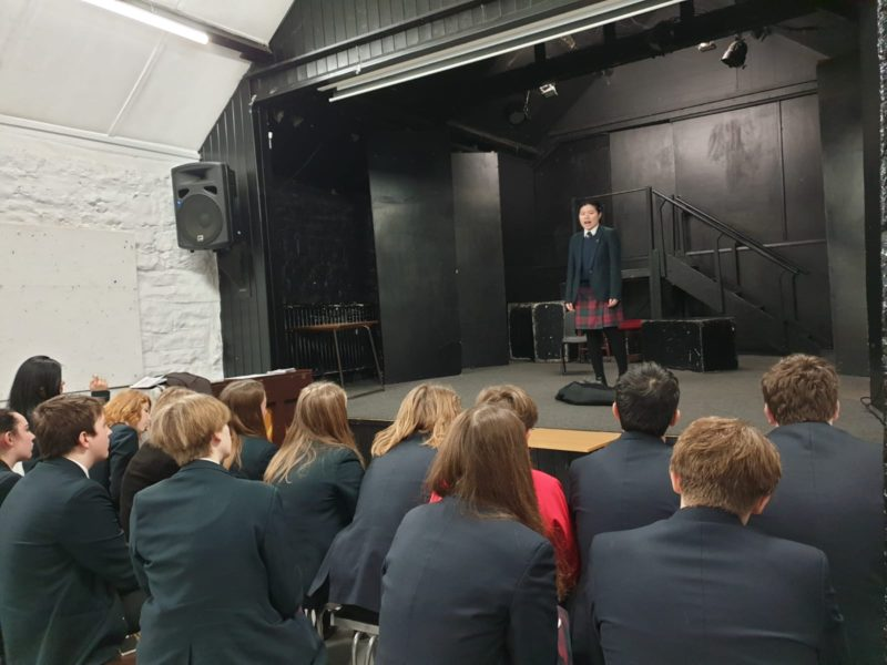 Y11 drama pupils take in turn to deliver their performance