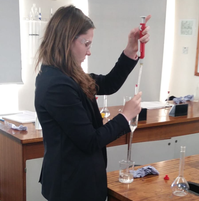 Lydia uses her newly learned titration skills